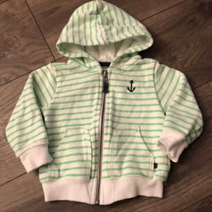 Carters Striped Anchor Zip Up Hoodie